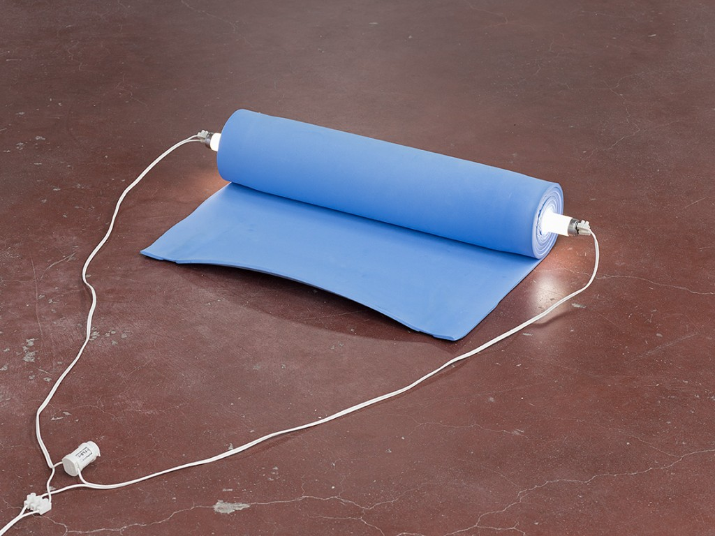 Barak Ravitz, Galilee (Roll), 2006, Camping mat, fluorescent lamp, 12 x 60 x 30 cm, edition of 3