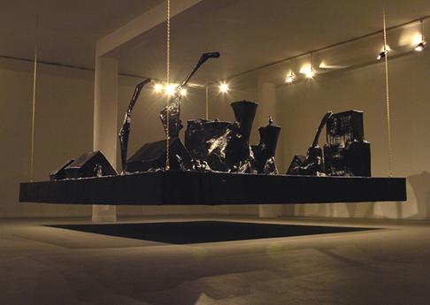 Naama Tsabar, Encore, 2006, paper, black gaffer tape, iron frame, 360x270x210cm
