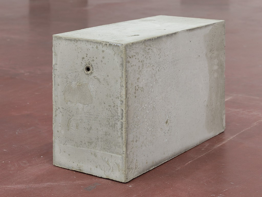 Jonathan Monk, Untitled (minimal means), 2015, concrete, metal ,2015, approximate dimensions 30 x 49 x 20 cm (each), unique (detail)