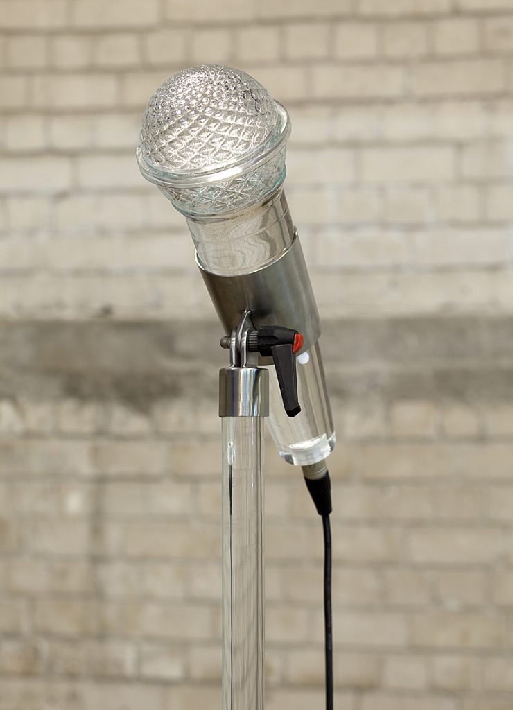 Adel Abdessemed, Fatalité (detail), 2011, installation, 7 hand-blown Murano glass microphones, 340x3cm, 221x4cm, unique