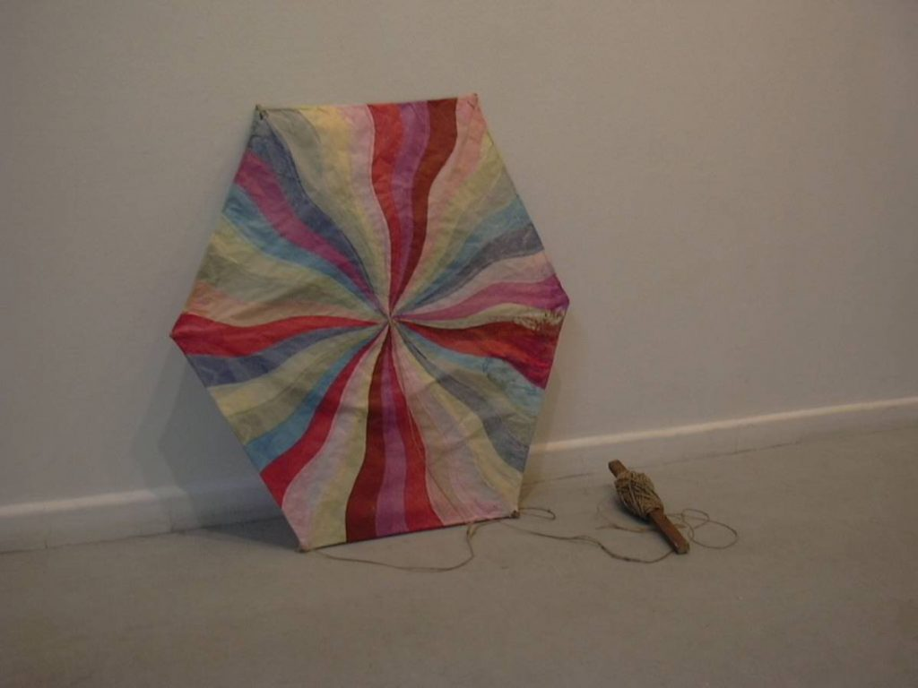 Ariel Schlesinger, Kite, 2003, pergament paper, wood, rope