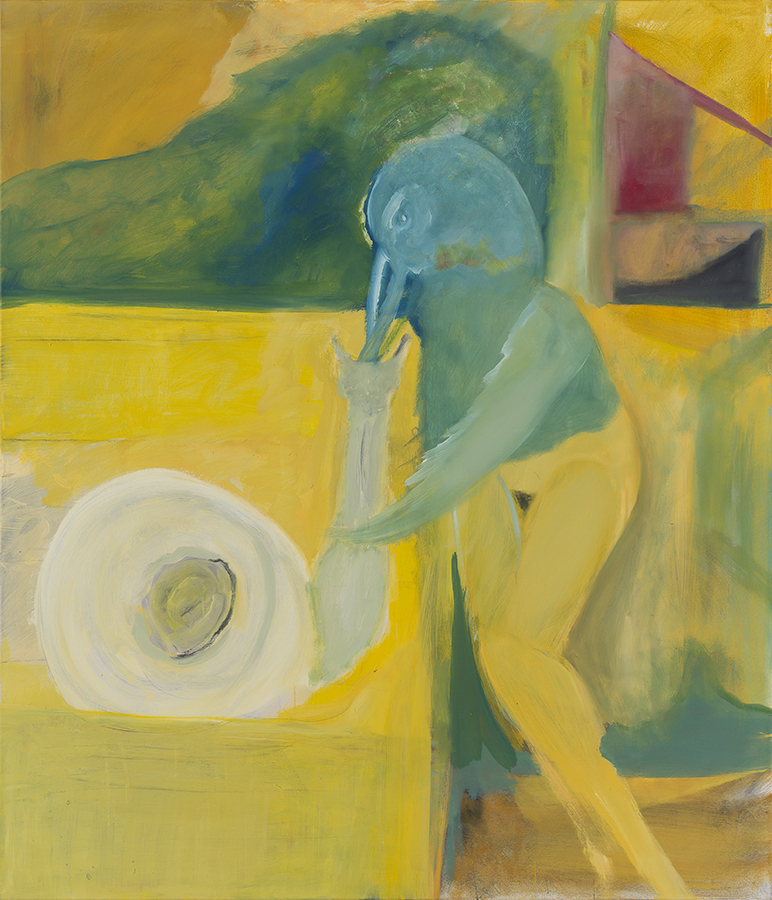 Avner Ben Gal, Bird and Snail, 2013, oil on canvas, 140 x 120 cm, unique