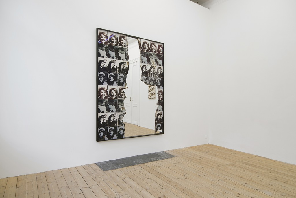 Douglas Gordon, Self Portrait of You + Me (Jackie 64 parts), 2015, Burned print, smoke and mirror, 205 x 155 x 5 cm