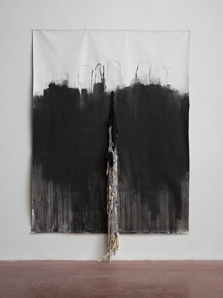 Etti Abergel, Body Object, 2014, canvas, black T-shirt, jumping ropes, ink, 242 x 162 cm, unique