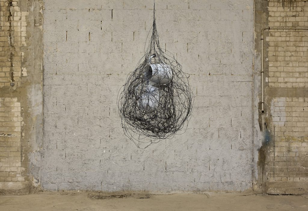 Etti Albergel, Two Jars, 2011, mixed media, industrial porcelain, barb wire, dimensions variable