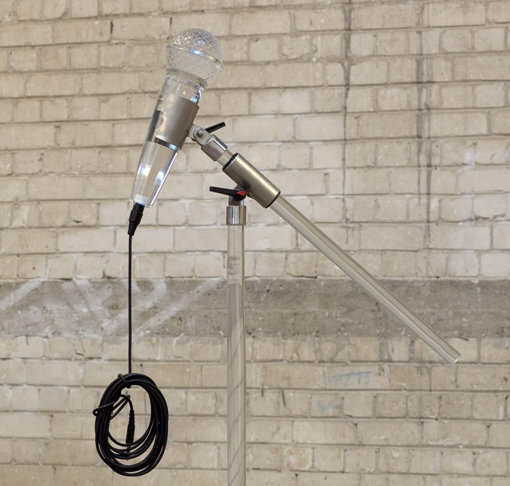 Adel Abdessemed, Fatalité, 2011, installation, 7 hand-blown Murano glass microphones, unique