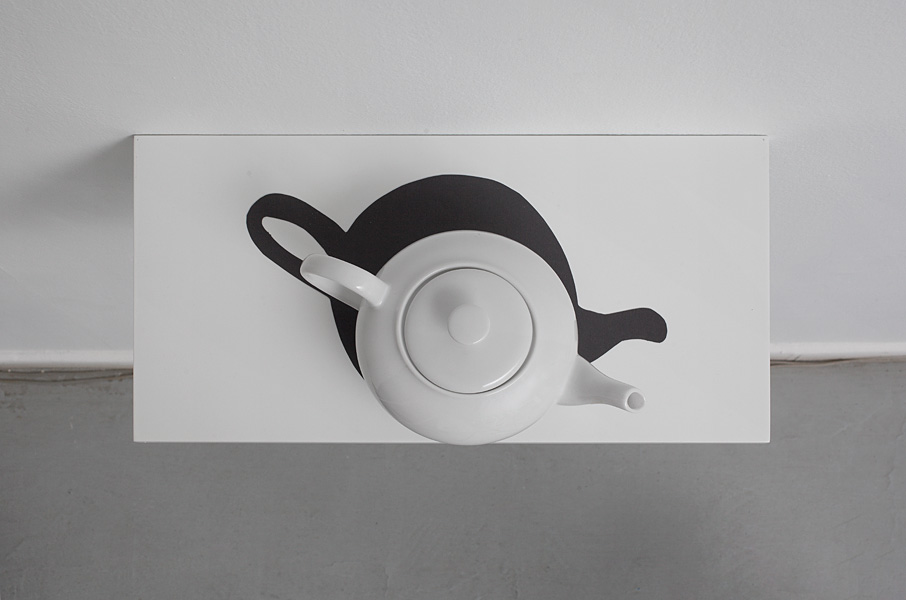Hans Peter Feldmann, Teapot with Shadow, porcelain and cardboard, 20 x 35 x 18 cm