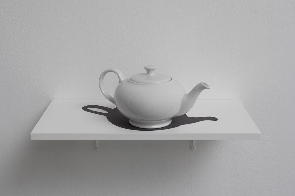 Hans Peter Feldmann, Teapot with Shadow, Porcelain and cardboard, 20.1 × 35.1 × 18 cm