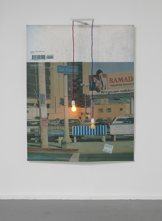 Jonathan Monk, Bus Stop and the Lights Flash, 2013, inkjet print on canvas, light bulbs, 230 x 120 cm, unique