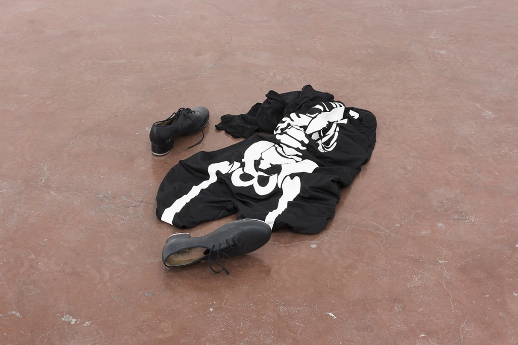Latifa Echakhch, Untitled (Dancer), 2013, Skeleton costume, tap shoes, 60 cm diam, unique