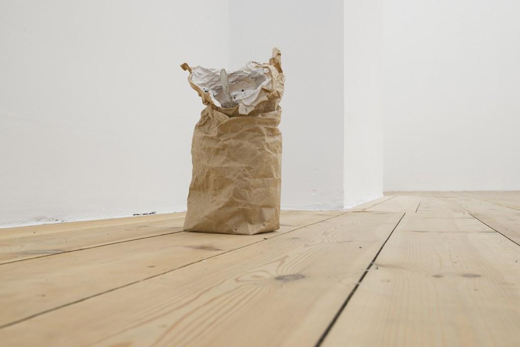 Latifa Echakhch, Untitled (and I ate a lot of powder sugar), 2016, sugar powder, china ink, paper mache, tea spoon, 22 x 16 x 15 cm