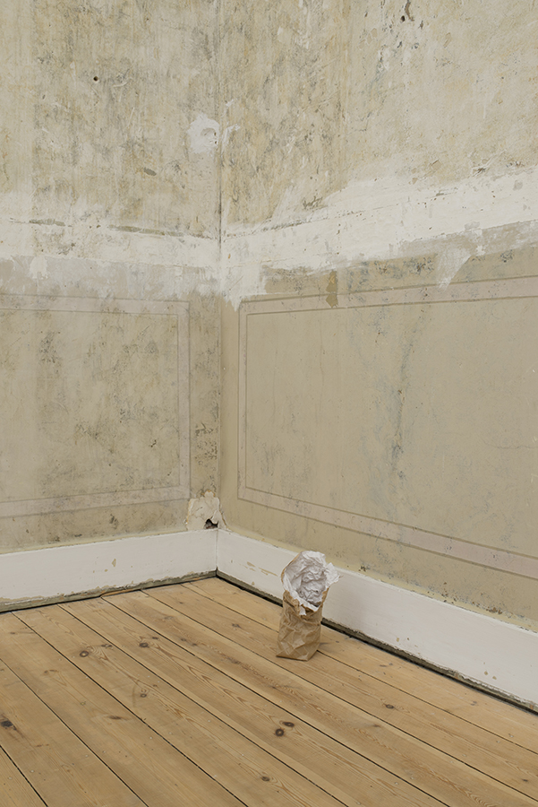 Latifa Echakhch, Untitled (and I ate a lot of powder sugar), 2016, sugar powder, china ink, paper mache, tea spoon, 22 x 16 x 15 cm