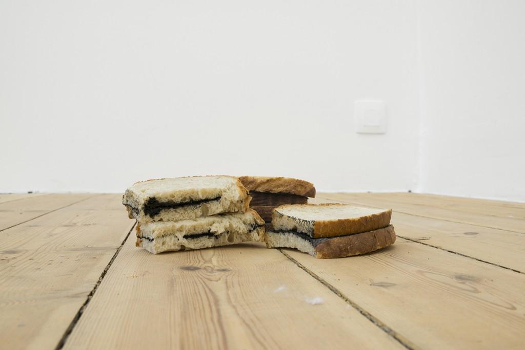 Latifa Echakhch, Untitled (I'm hungry), 2016, dry bread, china ink, 2.5 x 10 x 7 cm, 5 x 9.5 x 4.5 cm, 5.5 x 10.5 cm