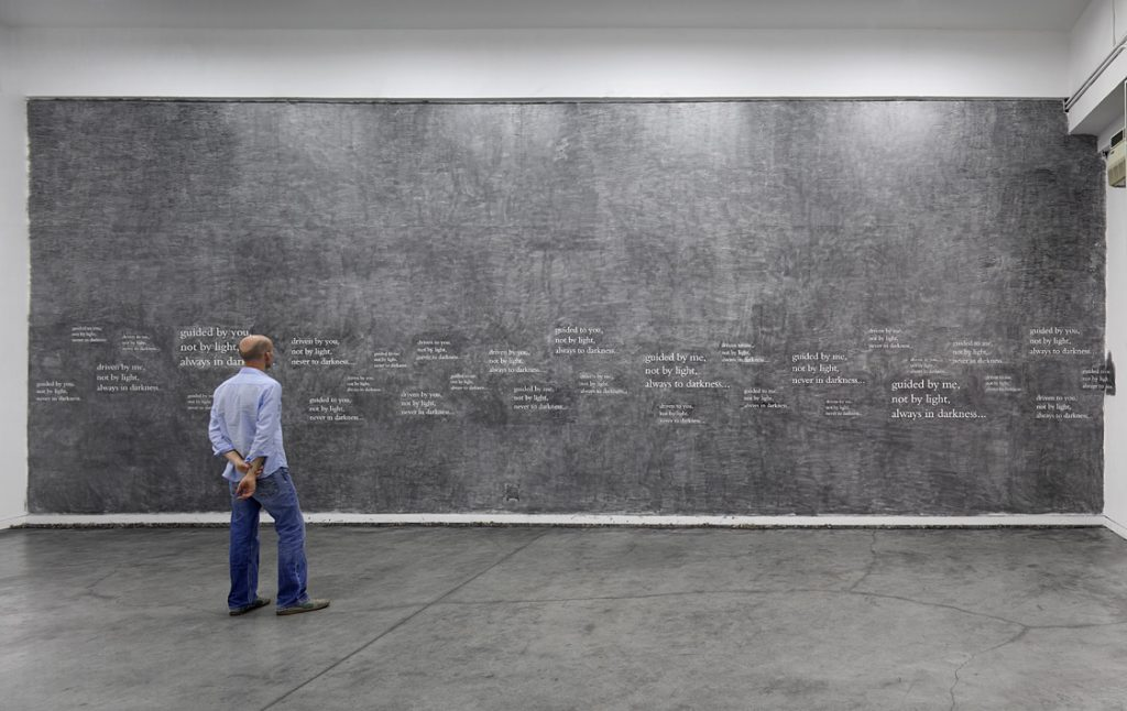 Douglas Gordon, 33 degrees of enlightenment, 2012, text, pencil, variable dimensions, unique