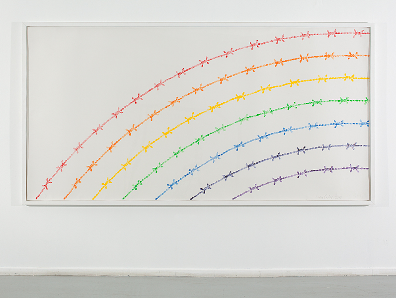 Mircea Cantor, Rainbow, 2010, artists fingerprints, etching ink on paper, 150x300 cm, unique