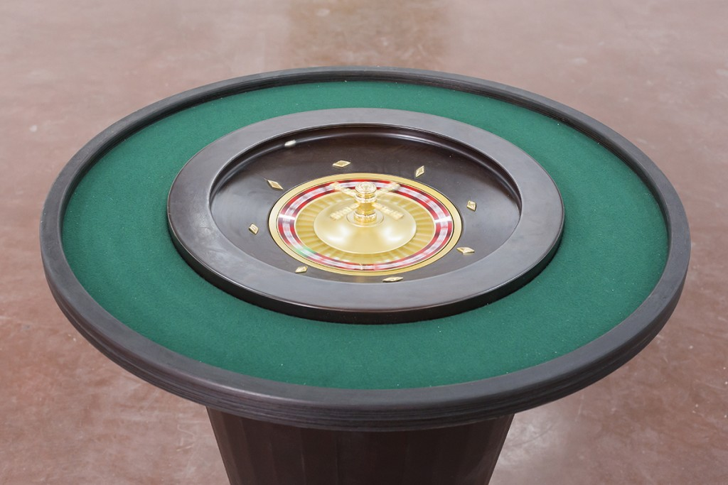Miri Segal and Gideon Gechtman, Neverfall, (in collaboration of Avi Lubin and Shachar Geiger), 2013,  mixed media, roulette, electronics, wood,  height 87 cm, diameter 80 cm, edition of  3 + 2 AP