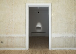 Miri Segal, exhibitionview,  Light Falling,2012, perpex mirror, digital print,spotlight,20x70cm