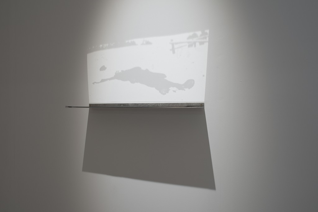 Miri Segal, Light Falling, 2012, perspex mirror, digital print, spotlight, 20 x 70 cm, edition of 6