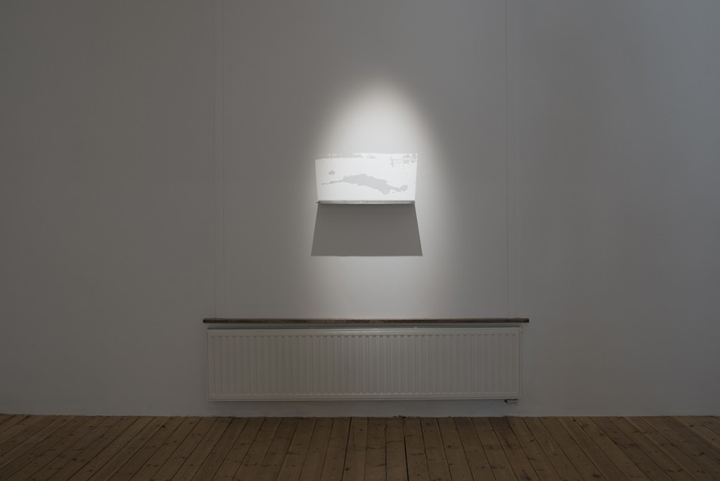 Miri Segal, Light Falling, 2012, Perspex mirror, digital print, spotlight, 20 x 70 cm, edition of 6 + 2 AP