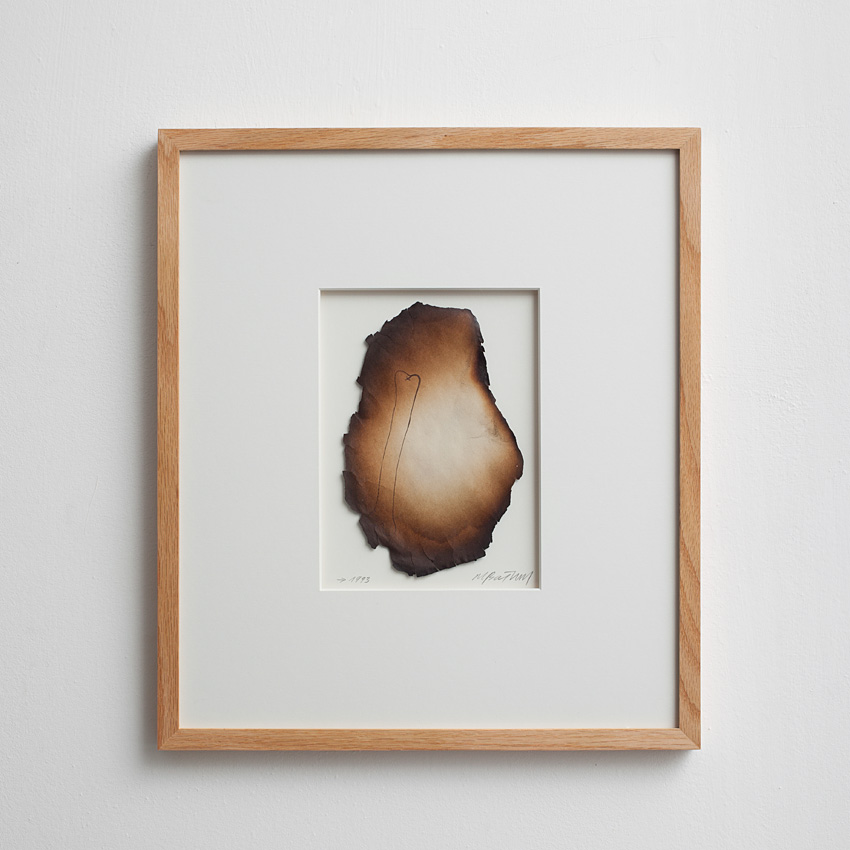 Miroslaw Balka, Bone, 1993, burnt drawing, 42.5 x 37 x 2 cm