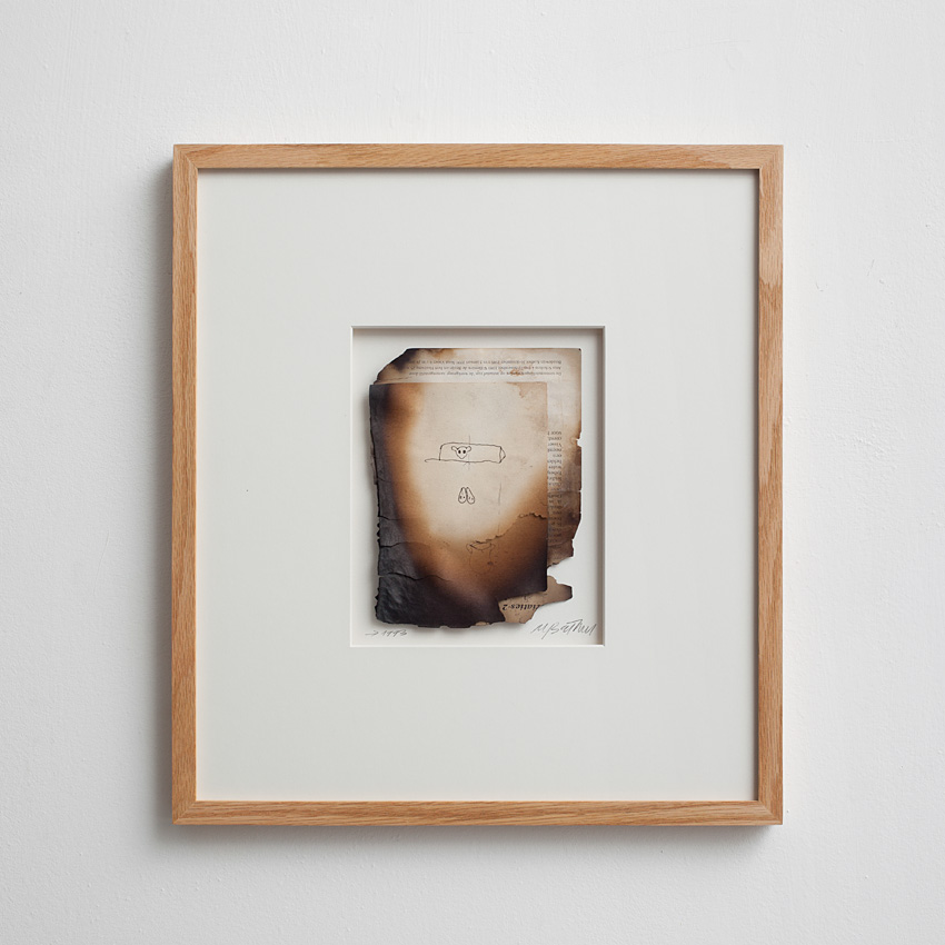 Miroslaw Balka, Shelf and skulls, 1993, burnt drawing, 41.7 x 37.5 x 2 cm