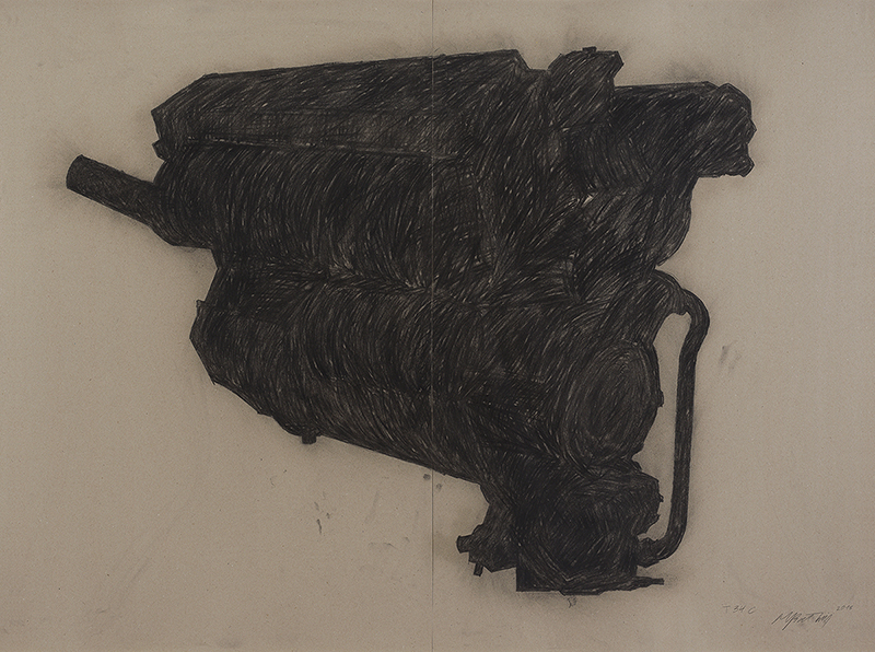 Miroslaw Balka, T34C, 2013, cardboard, pencil, charcoal, 100 x 140 cm, unique