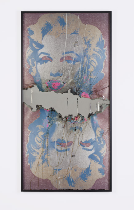 Douglas Gordon, Self Portrait of You + Me (Double Marilyn with Honey), 2012, burned print, smoke, mirror, 131x66x5 cm