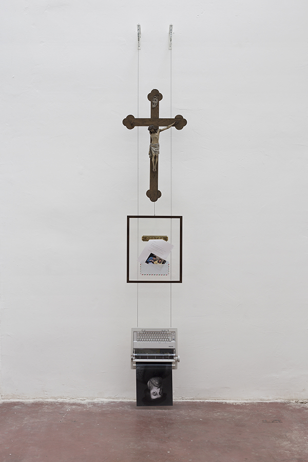 Simon Fujiwara, Gifts returned (reading, believing), from the series Letters from Mexico, 2014, mixed media, 320 x 54cm, unique