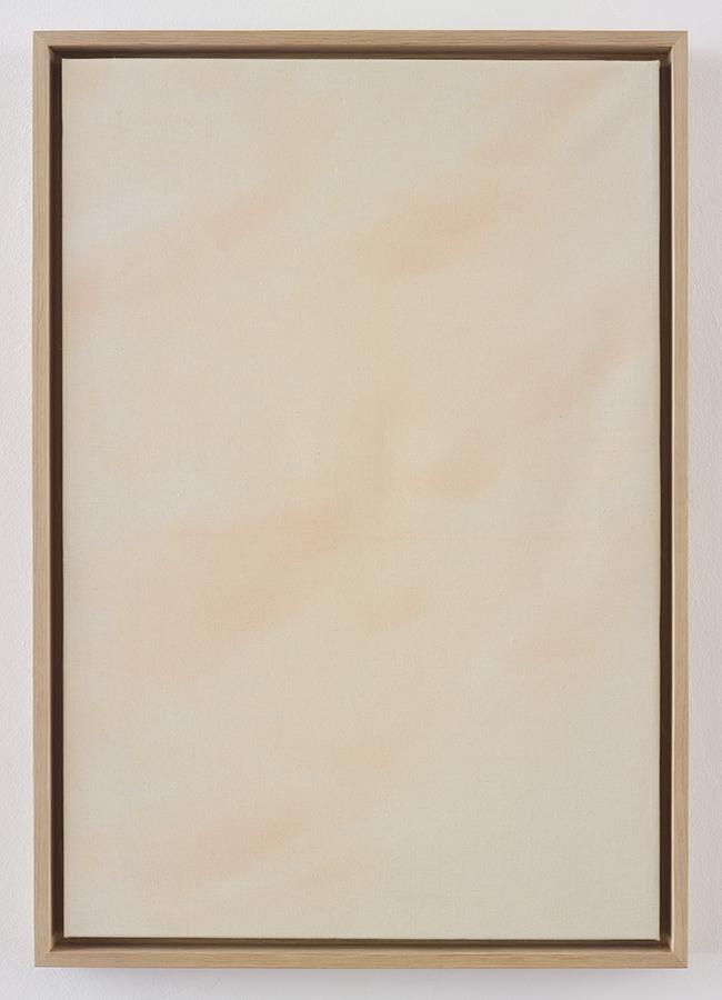 Simon Fujiwara, Masks (Merkel), 2015, make-up, linen, wood, 62.5 x 52 x 4.5 cm