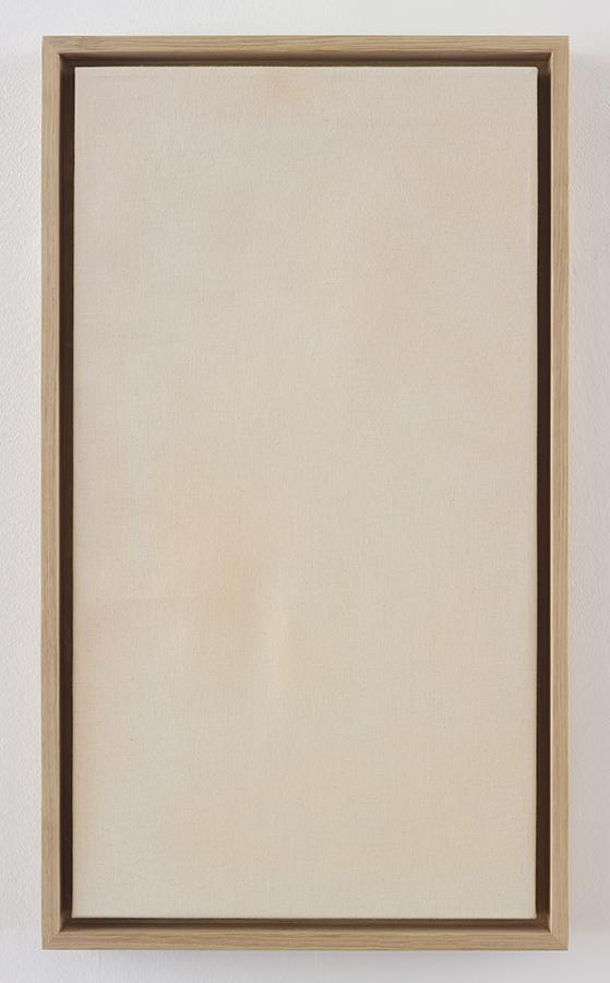 Simon Fujiwara, Masks (Merkel), 2015, make-up, linen, wood, 65 x 37.5 x 4.5 cm
