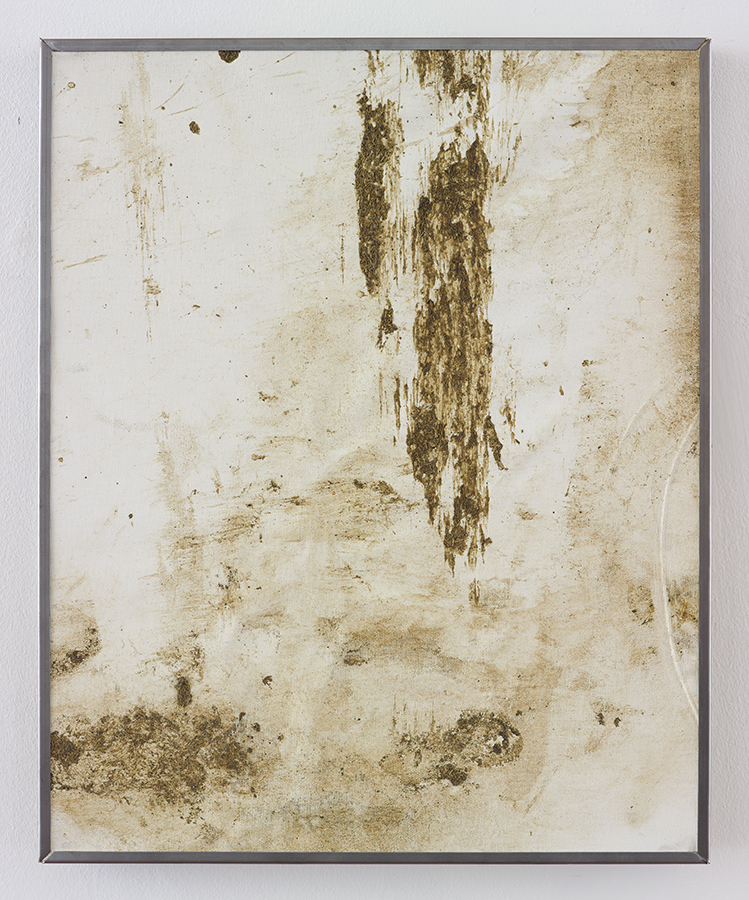 Simon Fujiwara, No Milk Today, 2015, cow manure on canvas, 53.5 x 43 cm, unique