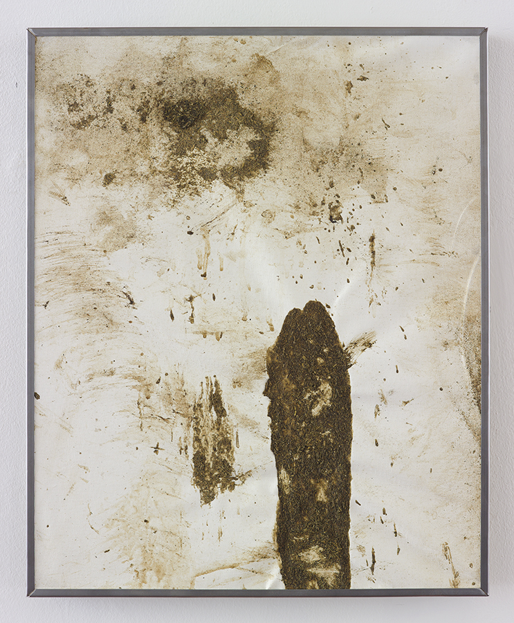Simon Fujiwara, No Milk Today, 2015, cow manure on canvas, 53.5 x 43.5 x 3 cm