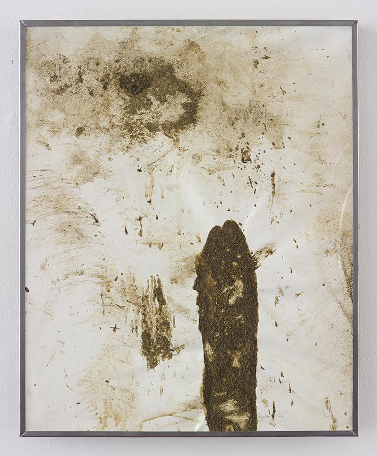 Simon Fujiwara, No Milk Today, 2015, cow manure on canvas, 53.5 x 43.5 x 3 cm