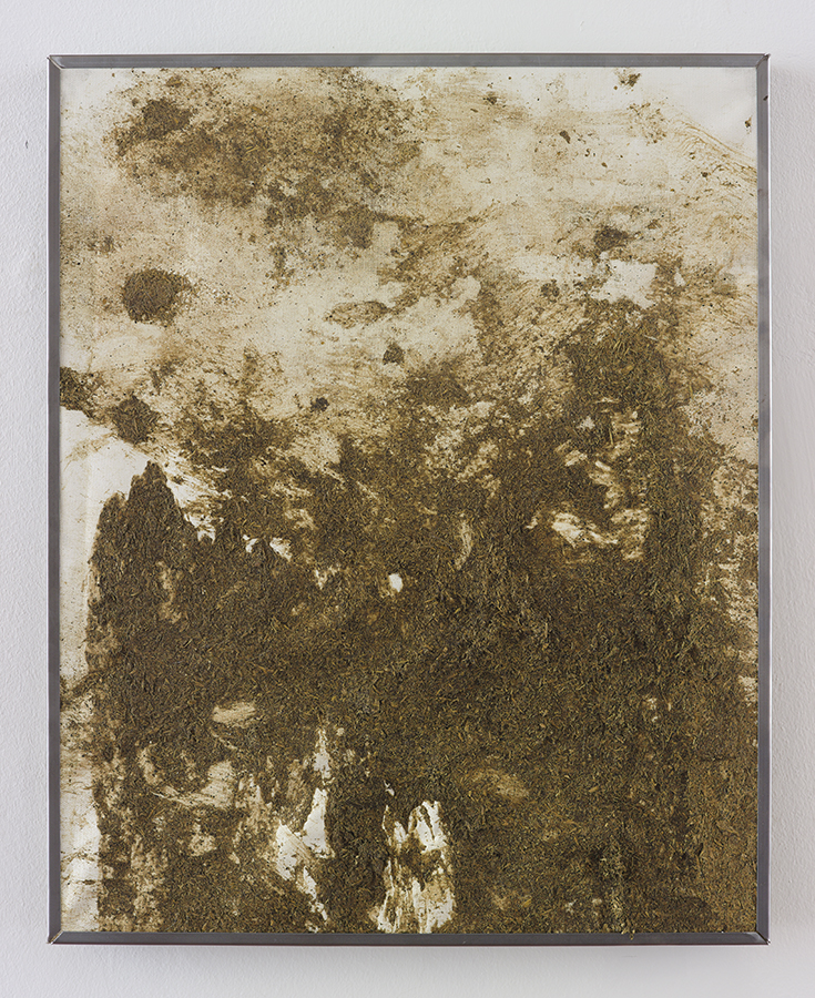 Simon Fujiwara, No Milk Today, 2015, cow manure on canvas, 53.5 x 43 cm