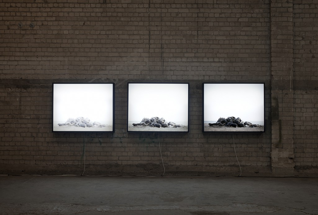 Dor Guez, Untitled (Ajami Beach), 2011, triptych, print on Duratrans, 100 x 120 cm each, edition of 3
