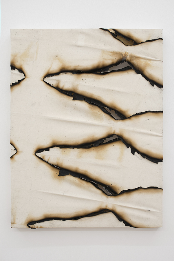 Ariel Schlesinger, Untitled (Canvas I) 2015, burnt canvas, 60 x 40 cm