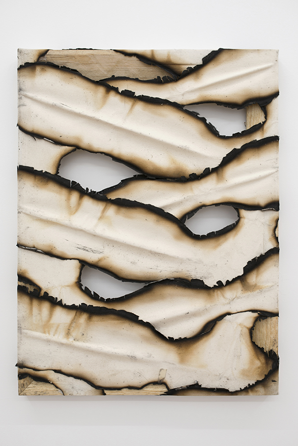 Ariel Schlesinger, Untitled (Canvas II) 2015, burnt canvas, 60 x 40 cm