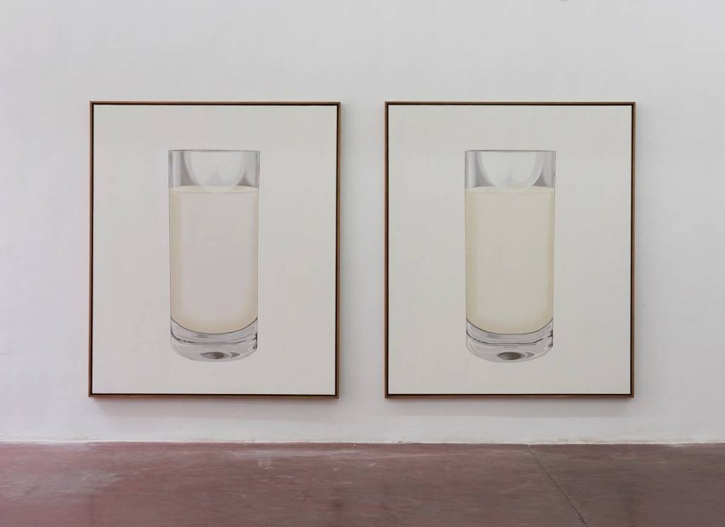 Simon Fujiwara, Lactose Intolerance (Double Portrait), 2014, oil on canvas, 193x162.5x5cm (each), Unique