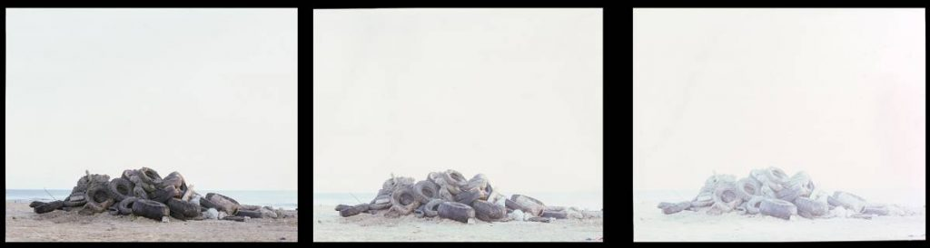Dor Guez, Untitled (Ajami Beach), 2011, triptych print on durantrans, 100 x 120 x 20 cm each, edition of 3 +1AP