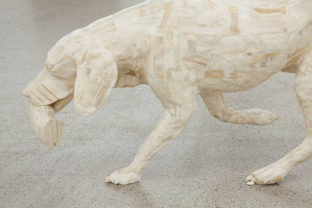Adel Abdessemed, Personne,  2014, camel bones, 55 x 102 x 25 cm, unique