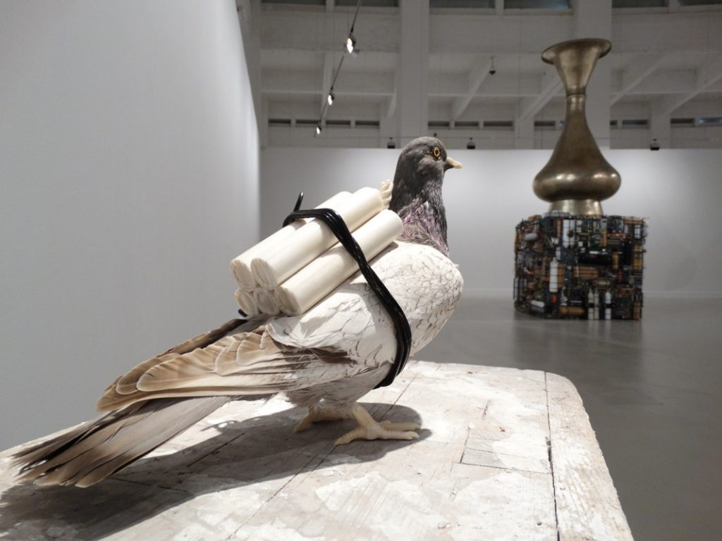 Adel Abdessemed, Pigeon, 2015, Taxidermy, camel bones and buffalo horn, 25 x 13 x 34 cm, with base 118 x 38.5 x 64.5 cm, unique