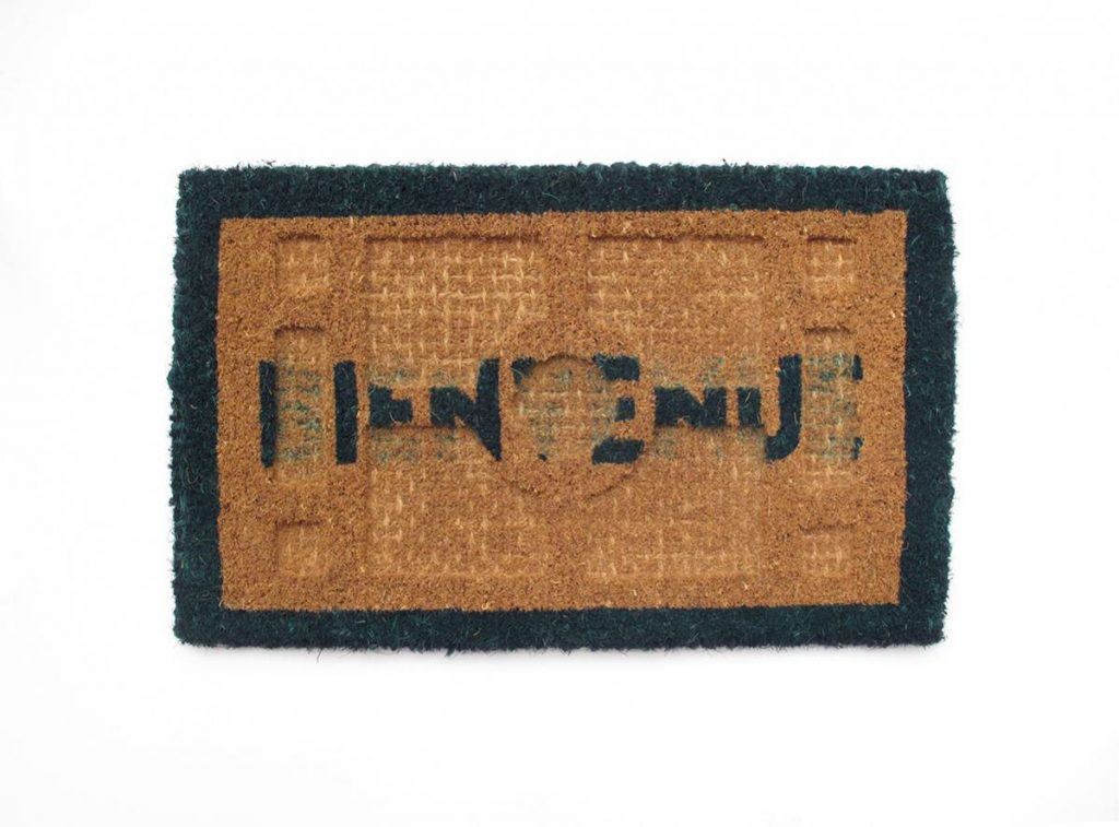 Barak Ravitz, Bienvenue, 2011, trimmed doormat, 37 x 58 cm, unique