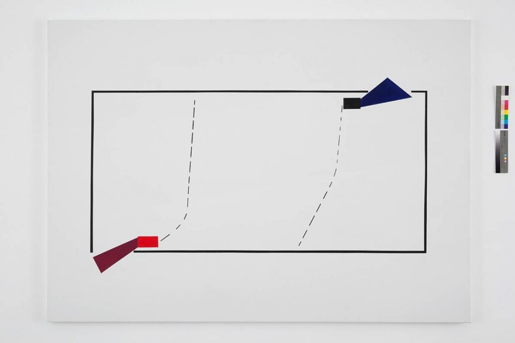 Claire Fontaine, Tactical Entry: Regular Square/Rectangle Room with Two Entrances (#10.), 2012, Acrylic and pencil on canvas, 200 x 142 x 3 cm