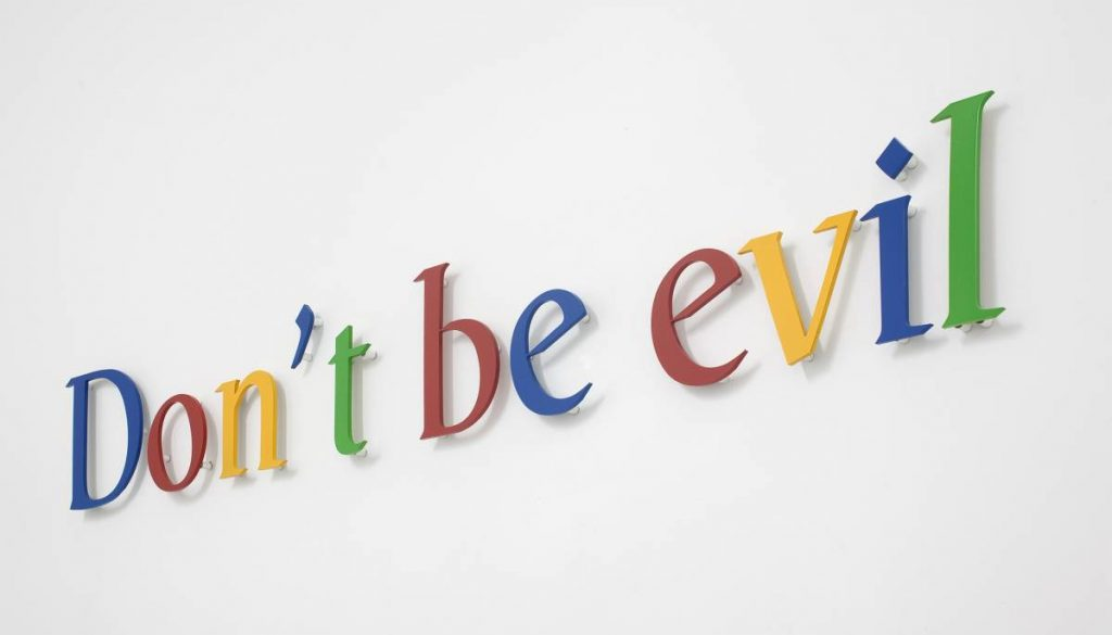 Miri Segal, Don't be evil, 2010, Colored aluminum letters, laser cutting, 18x127 cm, edition of 5 + 2 AP
