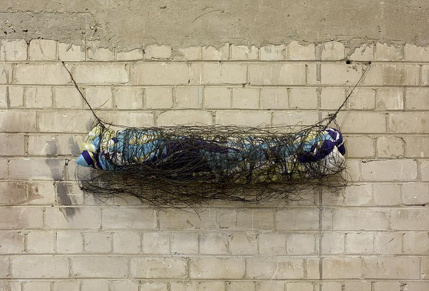 Etti Abergel, Untitled, 2011, Blanket, iron wires