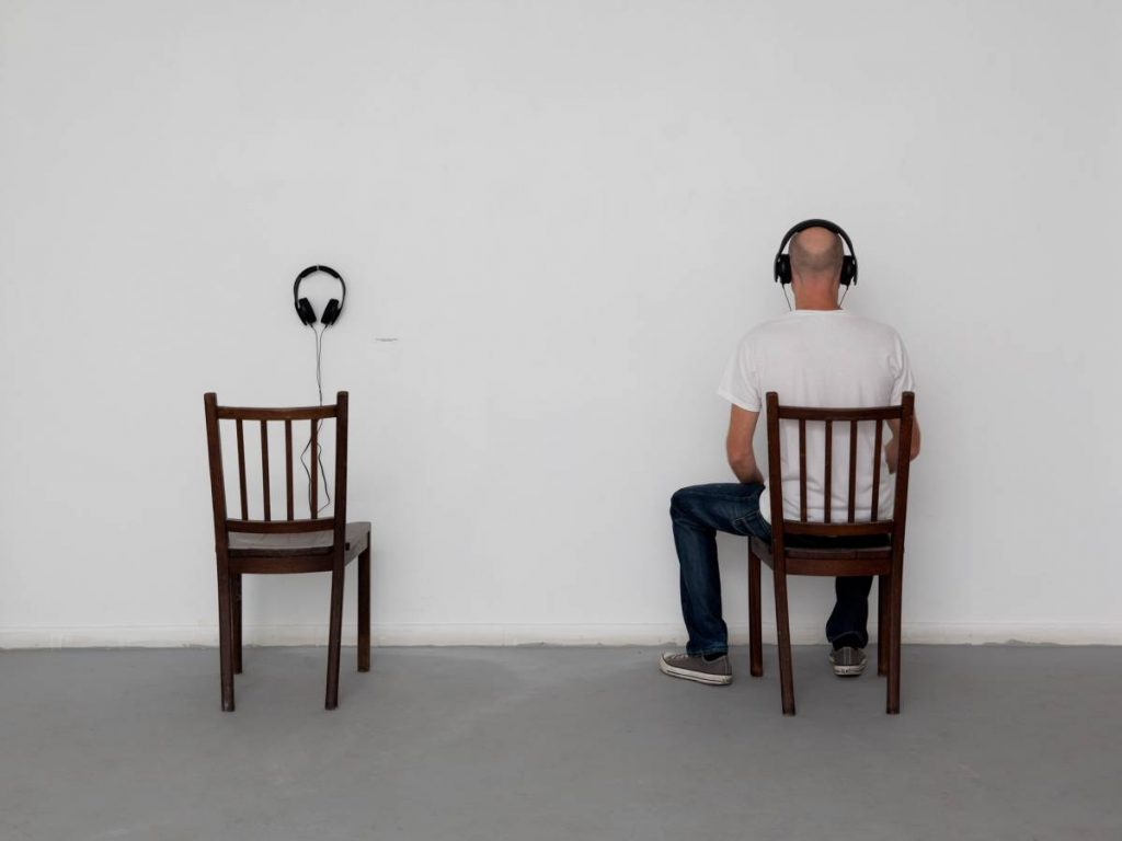 Shilpa Gupta, Untitled (work in progress, 100 interviews), 2012, Audio work, Chairs, Headphone x 2, Edition of 3