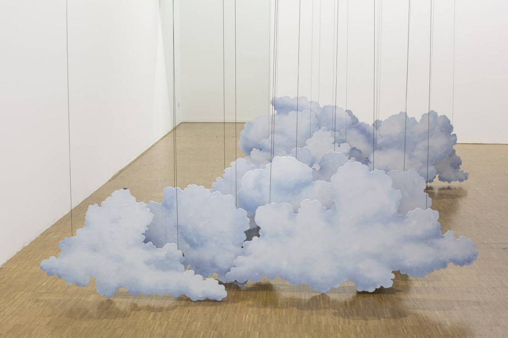Latifa Echakhch, Inking (The amorous threads) 2014, Spools of polyester thread, bamboo, Chinese ink, wooden cloud scenery, canvas, acrylic paint, steel wire, dimensions variable, unique, exhibition view, Centre Pompidou, Paris