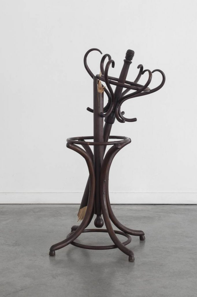 Latifa Echakhch, Untitled (The Self), 2013, hanger broken in two, 120 x 70 x 60cm, unique