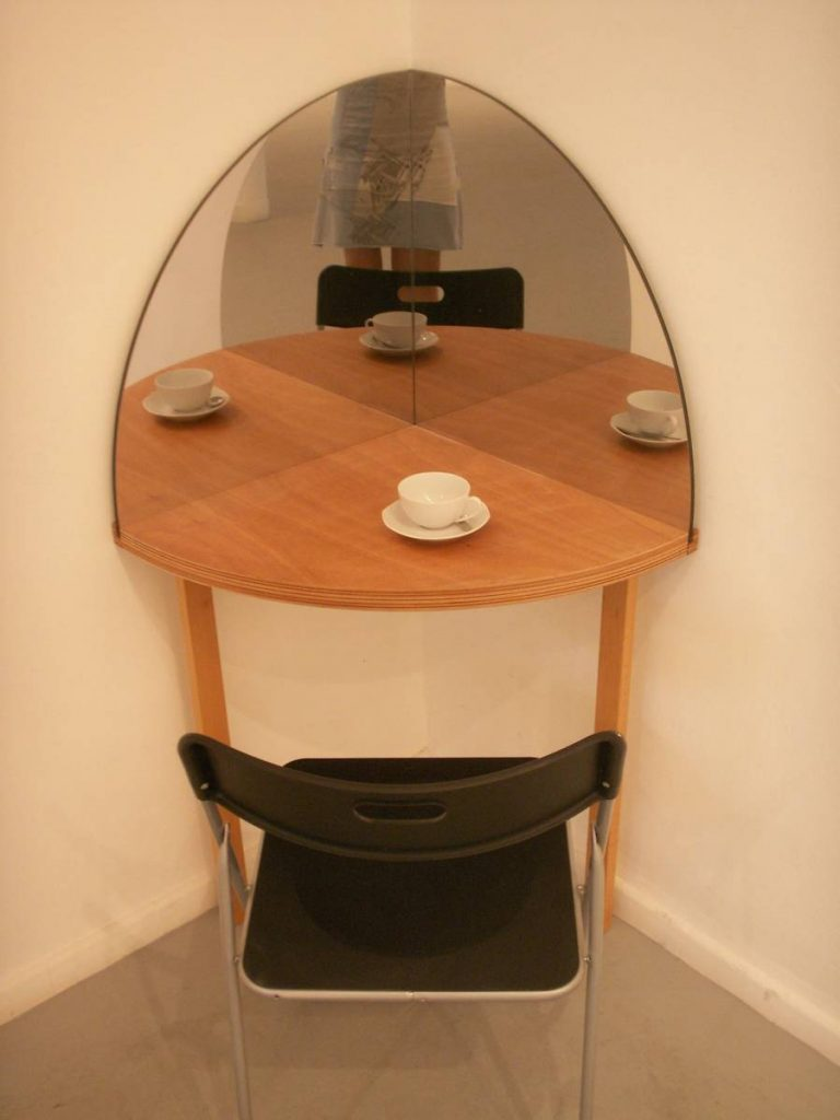 "Miri Segal, 4U (love), from ""love and strife"", 2006, dining table for one person wooden table, mirrors and chair, edition of 6"