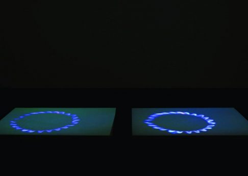 'Blue Gas Eyes', 2004, Steel, salt, and DVD projection, 2 x (170 x 126 x 5) cm, Edition of 2 + 1 AP